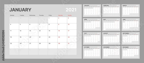 Cuadros en Lienzo Wall calendar template for 2021 year