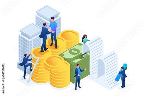Fototapeta Isometric Bank employees draw up a mortgage loan, businessmen. Concept for web design obraz