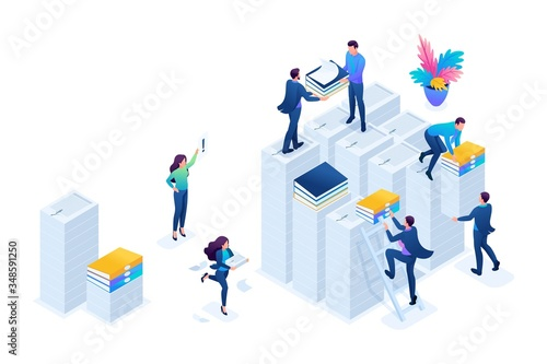 Valokuva Isometric Preparation of tax reports, tax agents check the documents