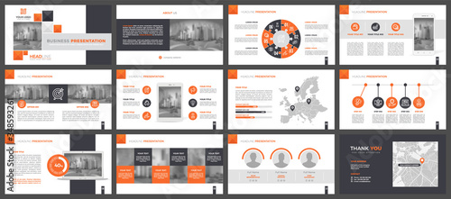 Fototapeta Presentation templates, corporate. Elements of infographics for presentation templates. Annual report, book cover, brochure, layout, leaflet layout template design. obraz