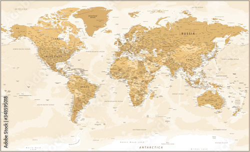 Fototapeta World Map - Golden Vintage Political Topographic - Vector Detailed Layered Illus