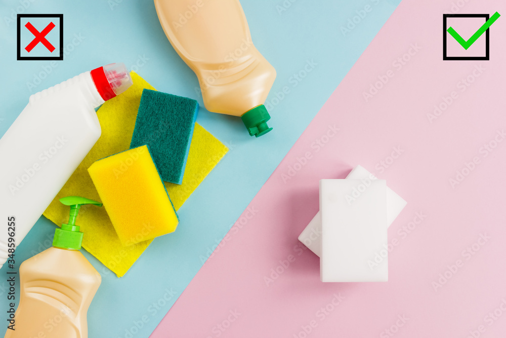 Fototapeta The advantage of melamine sponges over traditional cleaning products. The right and wrong choice of the hostess. The concept of environmentally friendly cleaners.