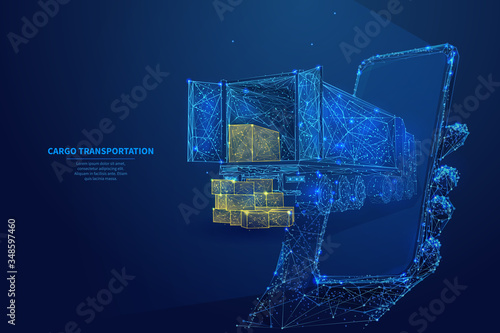 Fototapeta Polygonal 3d truck, parcels and smartphone in dark blue background. Online cargo delivery service, logistics or tracking app concept. Abstract vector illustration of online freight delivery service  obraz
