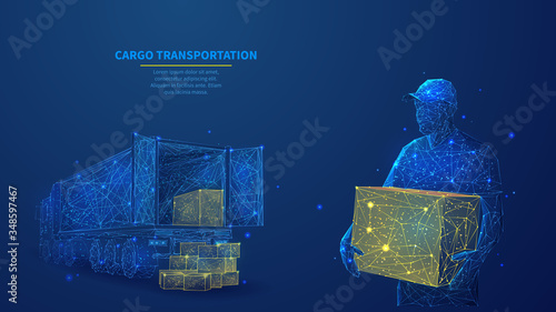 Fototapeta Delivery man with box standing in front of cargo truck in dark blue. Polygonal shipping cargo delivery, logistics, transportation or business commercial concept. Abstract wireframe vector illustration obraz