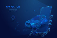 Polygonal 3d Car Leaving From The Smartphone. GPS Navigation, Location App Or Travelling Concept. Car, Phone And Navigator Pin In Dark Blue Background. Smart Technology Digital Vector Illustration