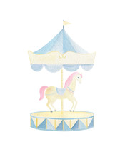 Watercolor Circus Horse And Blue Merry-go-round Hand Painted Isolated On White Background. Cute Unicorn For Birthday Invitation, Party, Baby Shower Design.