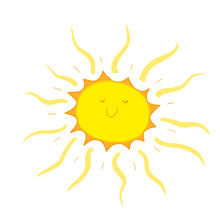 Funny Simple Doodle Kawai Smiling Sun. Hand Drawn. Isolated On White Background.