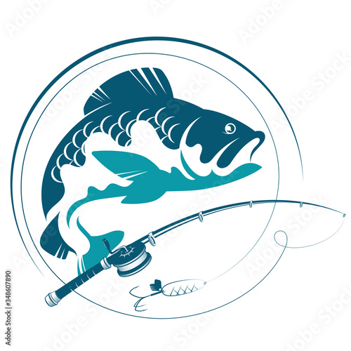 Photo Fish for bait and fishing rod silhouette