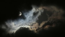 Low Angle View Of Moon Against Cloudy Sky At Night