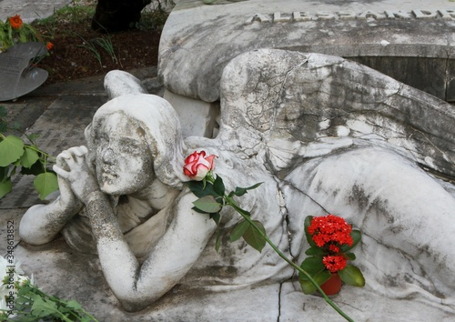 Fotografia Marble angel statues with roses at the monumental cemetery in Rome