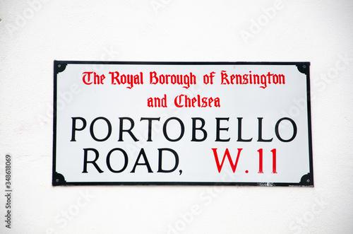 London Street Sign, Portobello Road, Borough of Kensington and Chelsea Wallpaper Mural