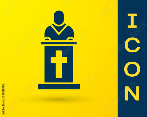 Fototapeta Blue Church pastor preaching icon isolated on yellow background