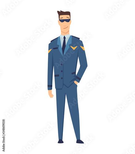 Smiling civilian aircraft pilot, aircrew captain, aviator or airman dressed in uniform Tablou Canvas