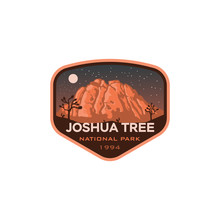 Joshua Tree National Park California Night Logo Badge Emblem  Sticker Illustration Vector Design