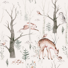 Watercolor Woodland Animal Sca...