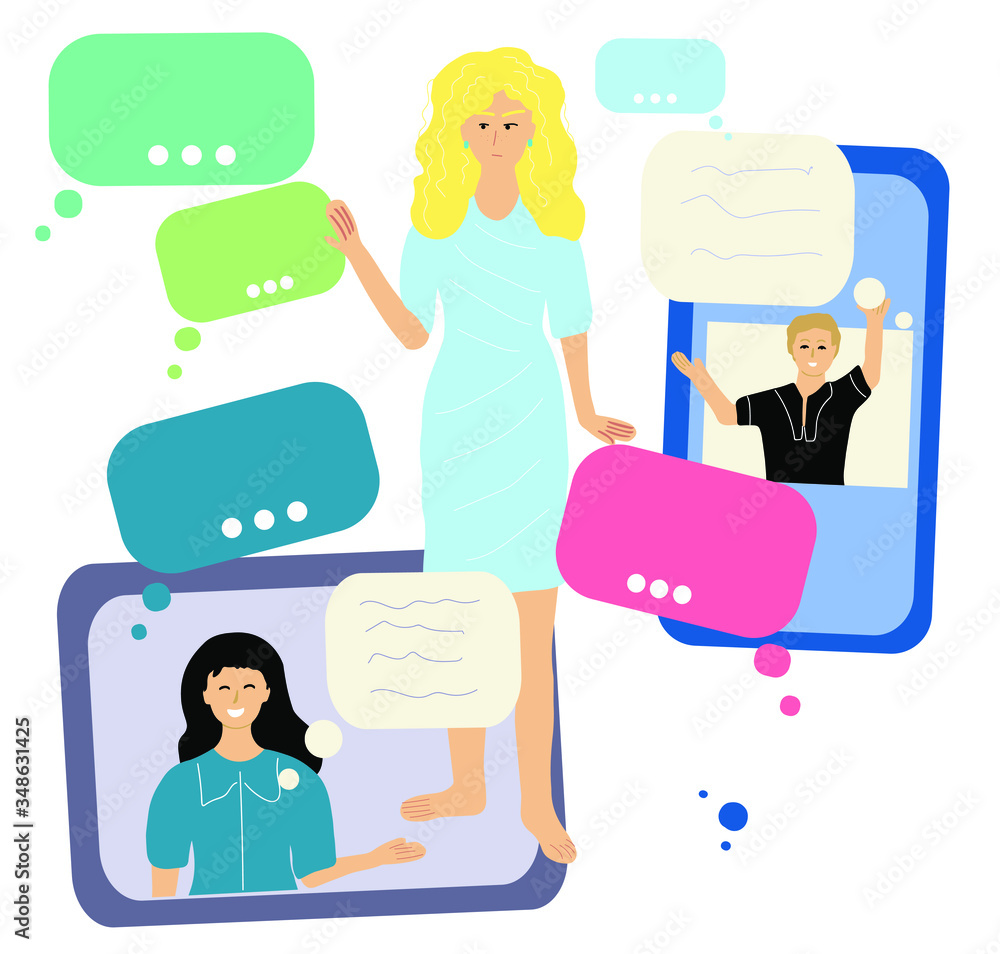Fototapeta Spam content attacks young woman. Hering and reading spam information in her mobil phone and tablet. Social network and new's detox. Hand drawn time waster concept vector illustration.