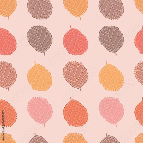 Fotografie, Obraz Autumn colored leaves seamless illustration background