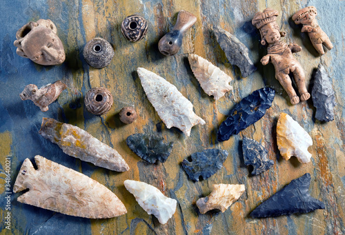 Real Arrowheads and Indian Artifacts. Wallpaper Mural