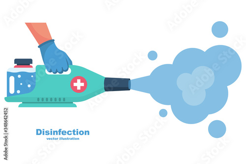 Fototapeta Prevention concept. Disinfection and cleaning. A man in chemical protection disinfects. Methods of controlling the epidemic of coronavirus. Vector illustration flat design. Cleaner in the hand. obraz