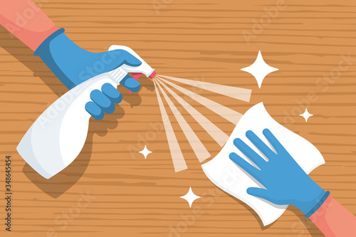 Cleaning wooden surface home or office Fototapet