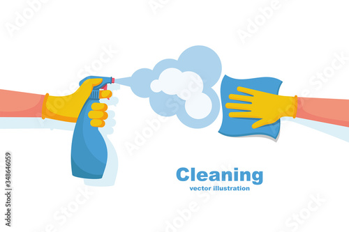 Obraz Surface cleaning in house. Cleaning with spray detergent. Spraying antibacterial sanitizing spray. Prevention coronavirus COVID-19. Napkin in the hands. Protective rubber gloves. Hygiene home vector. - fototapety do salonu