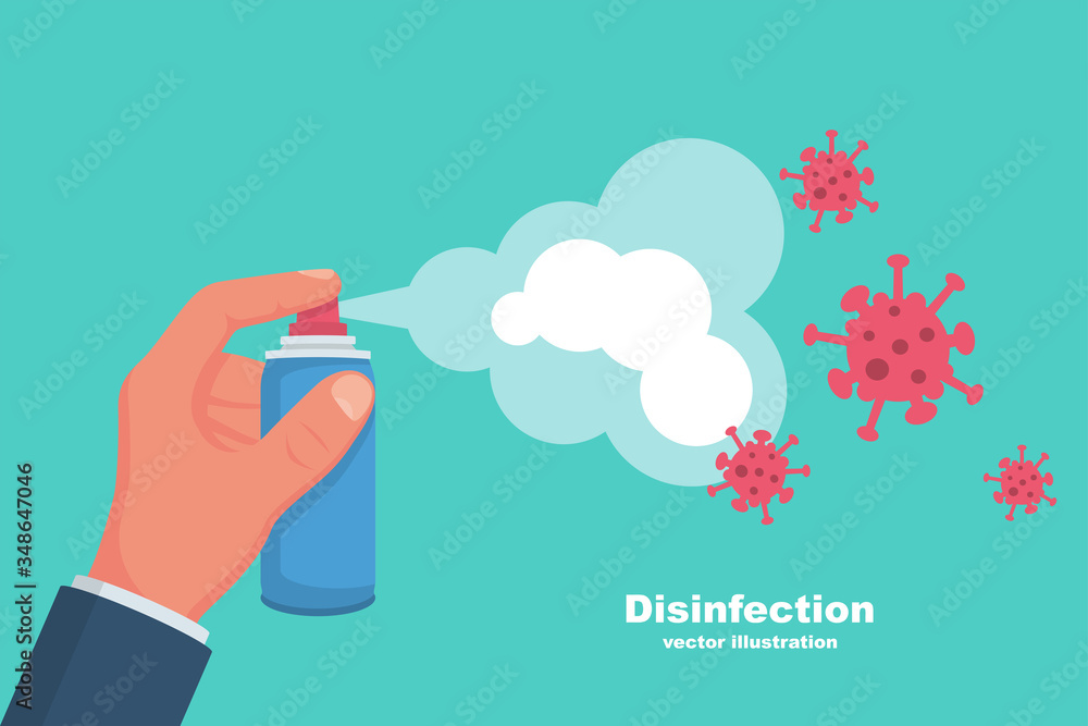 Fototapeta Prevention concept. Disinfection and cleaning. Man holds a disinfectant bottle in hand. Methods of controlling epidemic of coronavirus. Vector illustration flat design. Cleaner in the hand. Covid-19