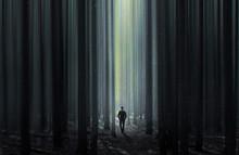 Man Walking Through A Surreal ...