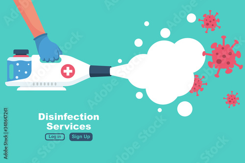Obraz Disinfection services concept. Prevention controlling epidemic of coronavirus covid-2019. Worker in chemical protection disinfects. Vector illustration flat design. Cleaner in hand. Runaway virus. - fototapety do salonu