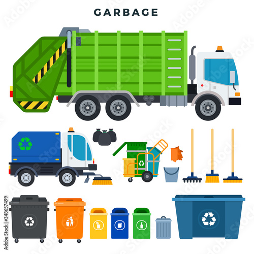 Fototapety, obrazy: Garbage collection and disposal, set. Containers for separate waste collection and recycling. All for garbage removal. Vector illustration.