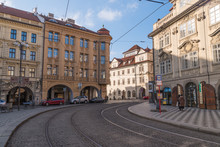 Streets In Downtown Prague Tramline And Historical Buildings