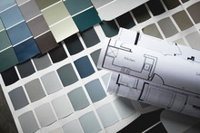 Paint Samples With Kitchen Blu...
