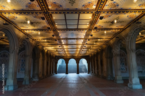Manhattan New York Central park stairs to the Minton tiles at Bethesda Arcade co фототапет