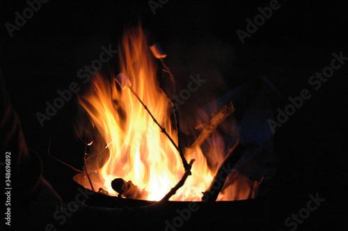 Leinwand Poster Burning Camp Fire