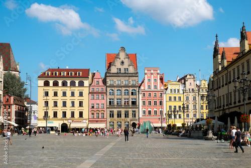 Fototapeta Historische Patrizierhäuser am Rynek, Breslau, Wroclaw, Republik Polen obraz na płótnie