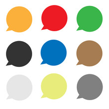 Set Speech Bubble Icon On Whit...