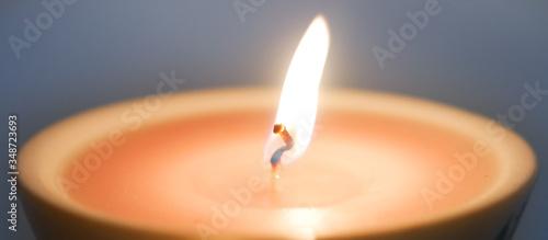 Burning candle wick close-up, macro Canvas Print