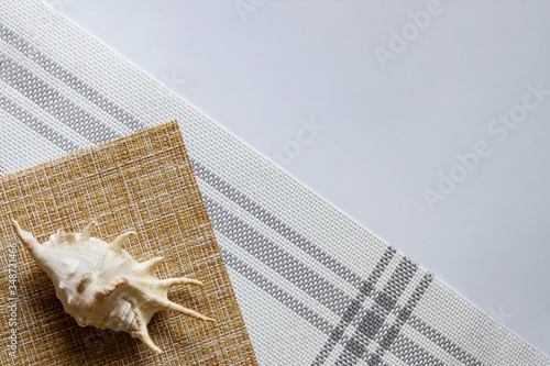 Minimal summer concept of a seashell on a brown and white background made of napkins Wallpaper Mural