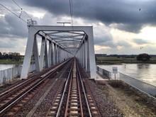View Of Railroad Bridge Over River