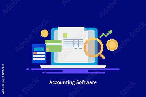 Fototapeta Accounting software solution, business financial management app, online balance sheet report, income calculation, small business audit concept. Web banner template. obraz