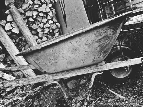 Fotografering Rusty Old Wheelbarrow In Timber Industry