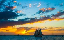 Sailboat At Sunset, Mallory Square, Key West,Florida,USA