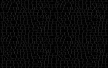 Crocodile Skin Pattern. Black Viper, Drawing On The Snake Skin. Reptile Surface Monochrome Croc Leather Texture. Animal Background For Printing. Vector Wallpaper