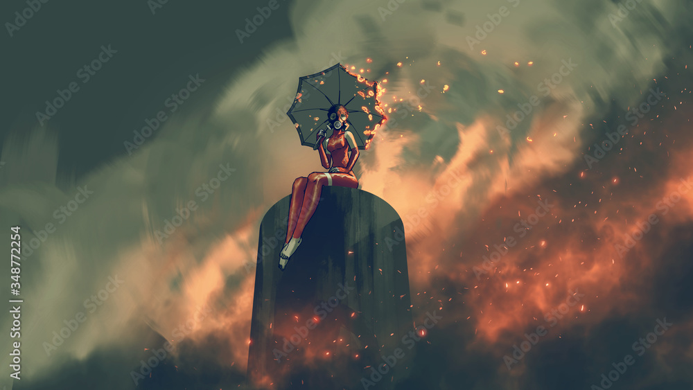 Fototapeta woman in leather suit holds a burning umbrella sitting sitting on a structure in a polluted city, digital art style, illustration painting