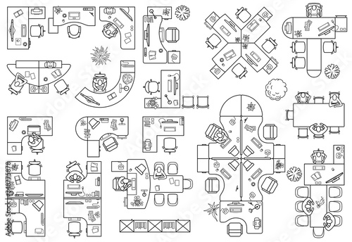 Fotomural Floor plan of office or cabinet in top view