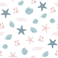 Starfish Seamless Pattern Summ...