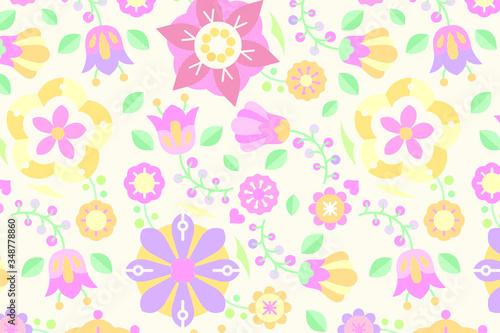 Folk art design element patterned background vector. Canvas Print