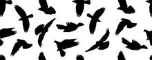 Seamless Pattern Of Black Flyi...