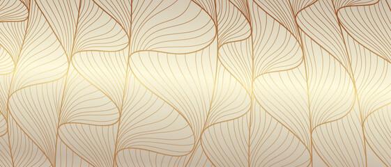 Luxury golden wallpaper. Line arts background, Art Deco Pattern, Vip invitation background texture for print, fabric, packaging design, invite. Vintage vector illustration