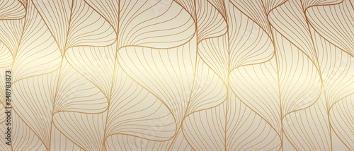 Luxury golden wallpaper. Line arts background, Art Deco Pattern, Vip invitation background texture for print, fabric, packaging design, invite. Vintage vector illustration