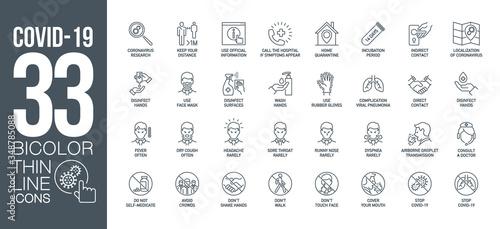 Fototapeta Prevention and symptoms Coronavirus Covid 19 line icons set isolated on white. Perfect outline health medicine symbols pandemic banner. Quality design elements virus treatment with editable Stroke obraz